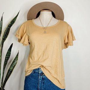 • DREW X ANTHRO • mustard yellow flared sleeve top